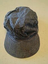 024 Vintage Boys Blue & White Stripe Engineer Cap Hat Train Conductor