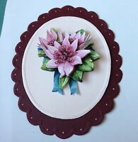 STUNNING 3D PINK FLORAL CARD TOPPER SUITABLE FOR MOTHERS DAY/BIRTHDAY