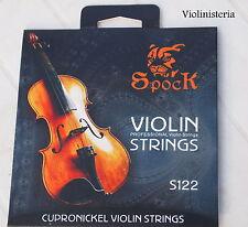 Cuerdas de violín de Spock completo tamaño 4/4 y 3/4 conjunto de la herida, Ball End, empaquetado vendedor del Reino Unido