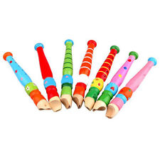 Colorful Fun Kids Wooden Flute Whistle Early Art Developmental Toys Gift