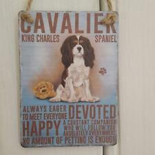 CAVALIER KING CHARLES SPANIEL DOG MINI METAL CHIC N SHABBY VINTAGE RETRO SIGN
