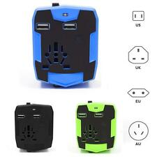 2 in 1 Universal Global AC USB Wall Socket Car Charger 2.1A Trip Power Adapter