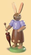Mueller - Traditional German Easter Wooden Figurine - Bunny Rabbit with Umbrella