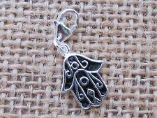 HAMSA HAND 925 STERLING SILVER  CHARM WITH CLAW CLASP  FREE GIFT BOX