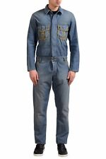 John Galliano Men's Blue Button Up Long Sleeve Jumpsuit US M IT 50