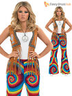 Ladies Womens 60s 70s Hippy Flower Power Bell Bottom Flares Trousers Fancy Dress