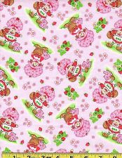 "HTF/OOP STRAWBERRY SHORTCAKE - RELEASED 2004 COTTON FABRIC - BTFQ - 18""X22"""