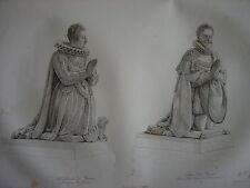 Grande gravure Statues Duc Duchesse de GUISE Catherine de Clèves Henri Lorraine