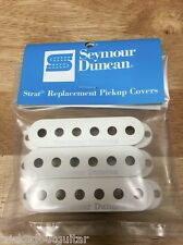 SEYMOUR DUNCAN STRAT PICKUP COVER SET WHITE WITH LOGO FITS FENDER STRAT