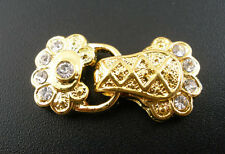 5Sets Gold Plated 2Holes Rhinestone Crystal Magnetic Clasps