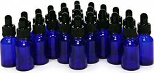 24 Cobalt Blue Glass Bottles 15 ml 1/2 oz Eye Dropper Essential Oil Travel NEW