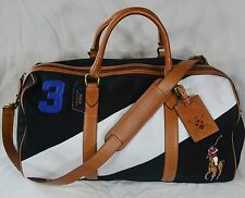 Polo Ralph Lauren Duffle Canvas BlackWatch Duffel Big Pony Black/White NWT $398