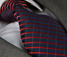 NEW ITALIAN DESIGNER BLACK/BURGUNDY RED STRIPED SILK TIE & HANKY