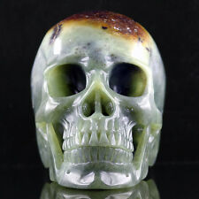 """5.7"""" NEPHRITE JADE Carved Crystal Skull, Realistic,Crystal Healing,A100"""