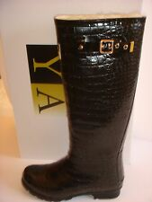 SALE RRP £125! Fully sheepskin lined calf high black patent wellies/boots size 5