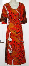 vintage long 3/4 Dolman sleeve SUN KAFTAN orange white tie back DRESS L 10 12