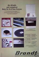 PUBLICITÉ 1974 BRANDT CUISINIÈRE MODÈLE 604 D 65 2 FEUX GAZ - ADVERTISING