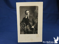 RPPC Portrait Man Suit Wicker Chair Ghost Image
