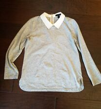 J Crew Peter Pan White Collar Gray Top Blouse SIZE XS $75 SOLD OUT