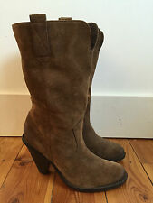 MARKS & SPENCER LADIES BROWN SUEDE COWBOY STYLE MID CALF BOOTS UK6