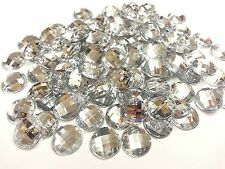 100 x 12mm Rhinestone DIAMANTE Flat Back Gems CLEAR Crystals Stick On with Glue!