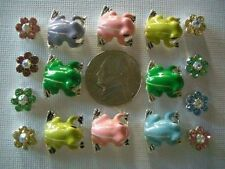 2 Hole Slider Beads Frogs & Daisies Lt. Mixed Made With Swarovski Elements #16