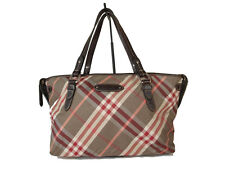 Auth BURBERRY LONDON BLUE LABEL Nova Check Nylon Canvas Browns Red Tote Bag