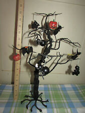 "HALLOWEEN 16"" SPOOKY BLACK WIRE TREE W/ 10 WOODEN ORNAMENTS WITCH BAT SPIDER CAT"
