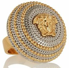 VERSACE MEDUSA SILVER & GOLD STATEMENT RING PLATED AUTHENTIC Sz. 7 US / 15 IT