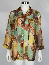 Chicos Additions Womens Size 3 XL 16 Orange Brown Floral Abstract Sheer Blouse
