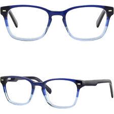 Eckig Damen Herren Brille Kunststoff Brillegestell Fassung Federscharnieren Blau