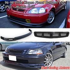 Mu-gen Style Front Lip (PU) + Mu-gen Style Grill Fits 96-98 Honda Civic 2dr