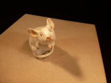 COOLEST RARE HEREND PORCELAIN SOLID COLOR WHITE AND PINK MOUSE MADE IN HUNGARY