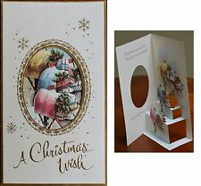 Vintage UNUSED Christmas Card RURAL MAILBOXES DIE CUT POP-OUT 3D POP-UP STAND UP