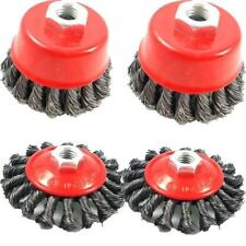 AU 4pc TWIST KNOT SEMI FLAT WIRE WHEEL CUP BRUSH SET KIT FOR 115MM ANGLE GRINDER