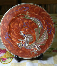Hand Painted Dragon Plate (Orange)