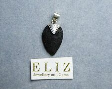 """Exotic .925 Sterling Silver Natural Volcanic Lava PENDANT """"Energy Crystal"""" 3.3 g"""