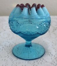 NORTHWOOD GLASS BLUE OPALESCENT PEARLS / SCALES ROSE BOWL CRANBERRY FRIT (C)