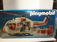 PLAYMOBIL ~ VINTAGE HELICOPTER 3789 ALMOST COMPLETE RARE ~ RESCUE PATROL EMT H8