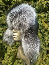 Silver Fox Fur Ushanka Hat with Italian Leather. TOP Quality Real Genuine Fur.