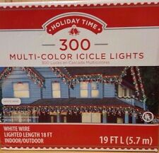 Set of 300 Multi-color Icicle Christmas Lights, White Wire - 19ft (18ft Lighted)