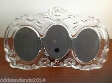 Vintage Look Glass Photo Frame with a Frosted Floral Design  Fits 3  4x3 Photos