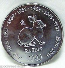 SOMALIA RABBIT CHINESE ZODIAC BIRTHDAY 2000 CUNI COIN Uncirculated