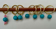 Stitch marker, knitting 6+1 ,    turquoise and pink coral
