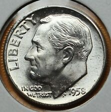 1958 10C Roosevelt Dime Silver U.S. Mint State Coin (H77) LZ