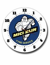 """MICHELIN TYRE SERVICES 250MM/10"""" INCHES DIAMETER METAL WALL CLOCK,GARAGE CLOCK."""