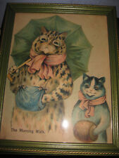 Picture LOUIS WAIN CATS  framed glass  VINTAGE  CAT 12 X 9