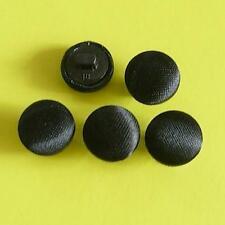 20 Satin Fabric Cover Shirt Clothes Shank Sewing Button Matte Black 11.5mm G132
