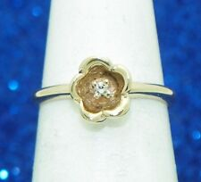3pts DIAMOND SOLITAIRE FLOWER RING SOLID 10K GOLD 1.8g SIZE 5.5