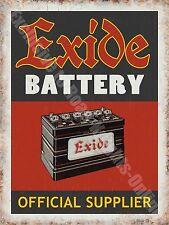 Exide Battery 136 Old Vintage Garage old Car Parts Advert, Large Metal/Tin Sign